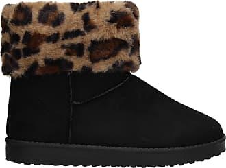 Swankyswans Raina Womens Faux Suede Warm Leopard Winter Boots Black Size UK 3 / EU 36