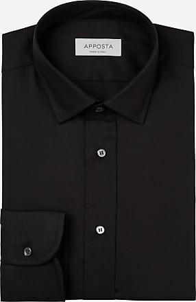 Apposta Camicia tinta unita nero 100% cotone anti-macchia twill doppio ritorto oekotex, collo stile italiano aggiornato