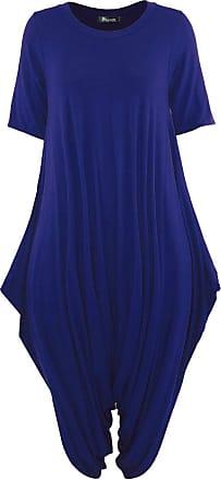 Top Fashion18 Women Short Sleeve Baggy Legenlook Hareem Jumpsuit Dress Navy