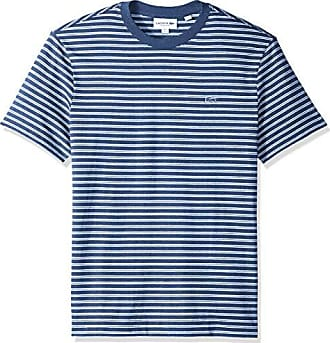 6c29a857 Lacoste Mens Short Sleeve REG FIT Striped Jersey TEE, Cruise Chine/Flour, 4X
