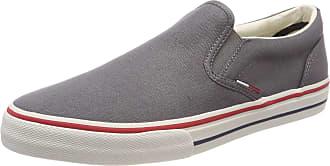 Tommy Jeans Hilfiger Denim Mens Tommy Jeans Textile Slip On Sneaker, Grey (Steel Grey 039), 42 EU, 8 UK