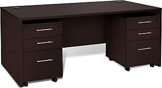 Unique Furniture 100 Collection Executive Desk with Mobile File Cabinet Espresso - 1C100024MPES