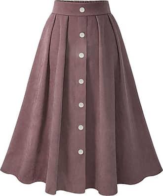 QIYUN.Z Womens Vintage Pleated Button Down A-line Swing Skirt Dark Pink XL