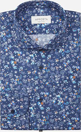 Apposta Camicia disegni a fiori blu 100% puro cotone popeline, collo stile francese punte corte