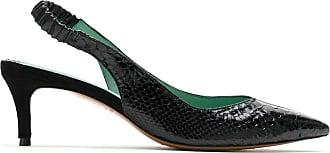 Blue Bird Shoes Slingback Duo Python em couro - Preto