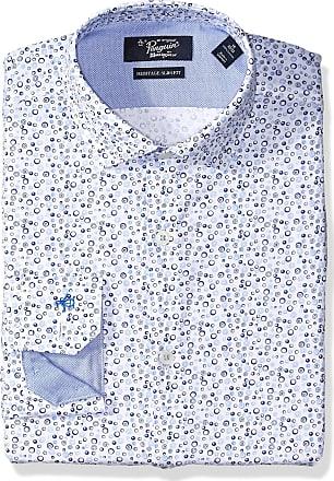 Original Penguin Mens Slim Fit Spread Collar Fashion Dress Shirt, White W/Blue Print, 17 Neck 34-35 Sleeve