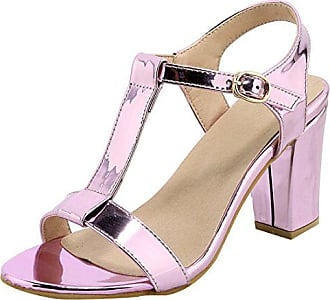 6b07f7fca09634 UH Damen T Spangen High Heels Sandalen Blockabsatz Pumps mit Riemchen und  Schnalle Offen Sommer Schuhe