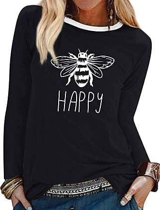 Dresswel Women Bee Happy Jumper Round Neck Long Sleeve Tops Bee Graphic T Shirt Pullover Blouse Black