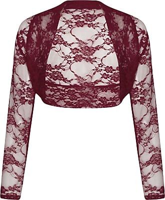 ZEE FASHION Women Long Sleeve Cropped Lace Bolero Shrug Size UK 8-26 Wine
