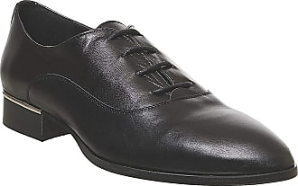 Office Focus Lace Up Black Leather Silver Heel Clip - 7 UK