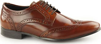Ikon NOLAN Mens Hi Shine Leather Lace Up Derby Brogues Tan UK 9