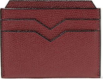 Valextra Pebble-grain Leather Cardholder - Burgundy