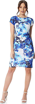 Roman Originals Women Floral Side Ruched Lace Dress - Ladies Smart Casual Evening Wear Short Sleeve Round Neckline Party Sexy Wedding Guest Work Day - Royal Blue - Si