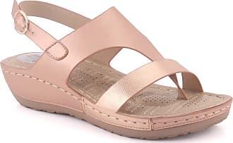 Unze Unze Women ITZEL Toe Loop Open Toe Metallic Buckle Closure Casual Glossy Comfort Summer Wedge Sandals UK Size UK Size 3-8 - L9975-1