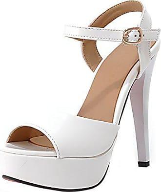 caa3a91225818c UH Damen Peep Toe Ankle Strap High Heels Stiletto Lack Sandalen Plateau mit  Schnalle Elegant Pumps