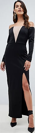 Asos Lange jurk met blote schouders en mesh inzetstukken-Zwart