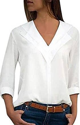 e0140037c008fd ORANDESIGNE Bluse Damen Langarm Einfarbig V-Ausschnitt Elegante Tunika  Casual Top Locker Langarmshirts mit Knopfleiste