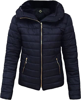 Parsa Fashions Malaika Ladies Quilted Padded Puffer Bubble Fur Collar Warm Thick Womens Jacket Coat - Available in Plus Sizes (Small to XXL) (XXL, Navy)