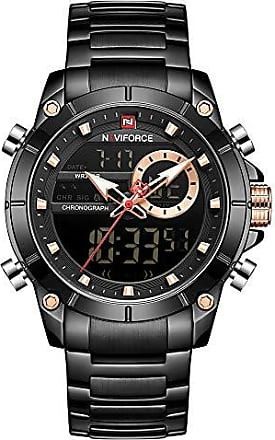NAVIFORCE Relógio Masculino Naviforce NF9163 BB Pulseira em Aço Inoxidável - Preto