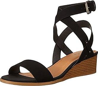 Qupid Womens Wedge Sandal, Black Distress Nubuck Polyurethane, 6 M US