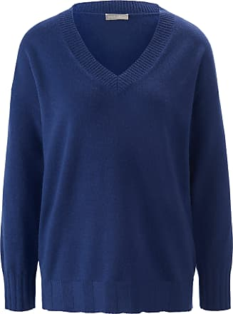 include V-neck jumper in 100% cashmere include blue