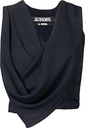 Jacquemus cropped draped top - Blue
