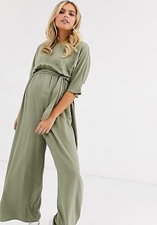Asos Maternity ASOS DESIGN Maternity tie waist jumpsuit-Green