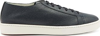 Santoni Cleanic Grained-leather Trainers - Mens - Navy
