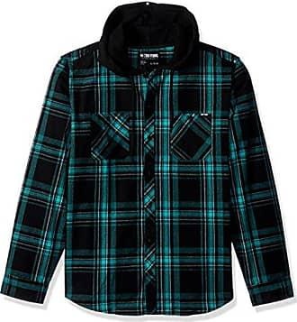 Zoo York Mens Long Sleeve Hooded Woven Shirt, Bailey Pool Green, Medium