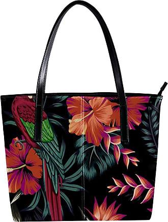 Nananma Womens Bag Shoulder Tote handbag with Tropical Jungle Parrot Hibiscus Strelitzia Flower Palm Leaves Print Zipper Purse PU Leather Top-handle Zip Bags