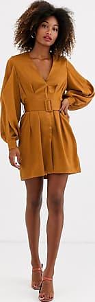 Unique21 Unique21 satin belted dress-Brown