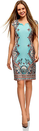 oodji Collection Womens Ethnic Print Cotton Dress, Turquoise, UK 12 / EU 42 / L