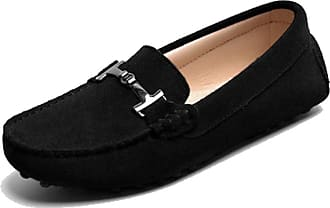 MGM-Joymod Ladies Womens Casual Slip-on Metal Buckle Black Suede Leather Walking Driving Loafers Flats Moccasins Hiking Shoes 6.5 M UK