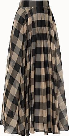 Akris Silk Organza Gingham Pleated Ankle Length Skirt