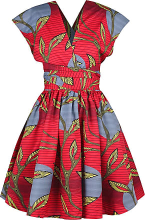EmilyLe Womens African Vintage Dress Elegant High Waist Multiway Bandage Dress Evening Cocktail Midi Dress Party Dress (S, Red Leaves)