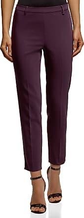 oodji Collection Womens Slim-Fit Trousers with Side Zipper, Purple, UK 16 / EU 46 / XXL