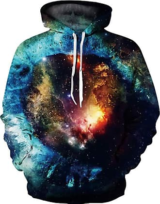 Ocean Plus Mens Hoodie Long Sleeve Pullover Wolf Tiger Hoody with Kangaroo Pocket (L/XL (Chest: 114-134CM), Multicolored Galaxy)