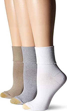 Gold Toe Womens Ultra Soft Providence Turn Cuff 3 Pack, Cinder/White/Khaki, 6-9