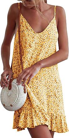 Yidarton Women Summer V Neck Sleeveless Mini Dresses Strap Boho Floral Backless Beach Holiday Party Sundress (XL, 1570-Yellow)