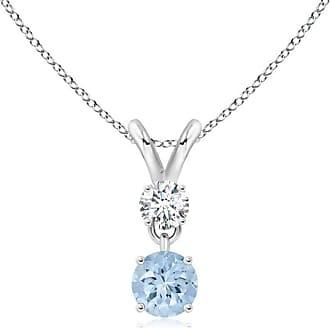 Angara Valentine Day Sale - Round Aquamarine and Diamond Two Stone Pendant