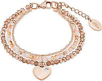 4643ca143dee46 s.Oliver Damen-Armband Edelstahl IP Rose Beschichtung mit Herz-Anhänger  Glassteine