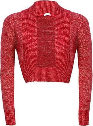 Generic Baleza Womens Girls Long Sleeve Knitted Metallic Lurex Shrug Ladies Evening Party Bolero Cardigan-£5.99, Sizes 8-14 (X/L(16-20), Red)
