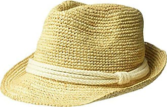 4dd19176c9c ále by Alessandra Womens Marin Crochet Raffia Fedora Sunhat Packable    Adjustable