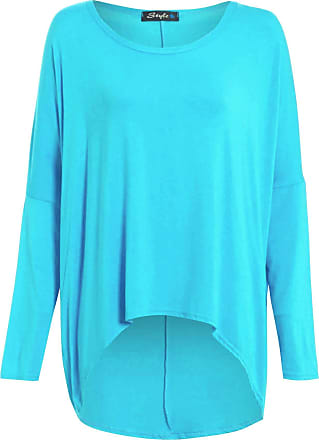Be Jealous Womens Ladies Oversized Baggy Stretchy Off Shoulder High Low Dip Dipped Hem Top Turquoise