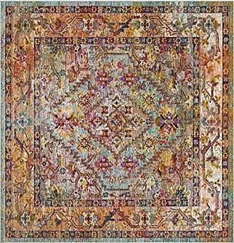 Safavieh Crystal Collection CRS507A Light Blue and Orange Bohemian Distressed Area Rug (7 Square)