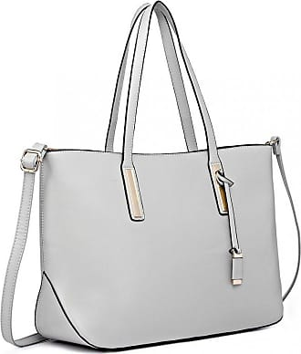 Quirk Leather Look Large Shoulder Tote Bag - Grey