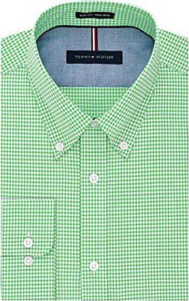 d9b9a9e98 Tommy Hilfiger Mens Non Iron Slim Fit Gingham Buttondown Collar Dress Shirt,  Sea Grass,