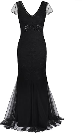 PrettyGuide Women 1920s Ball Gown Long Cocktail Formal Evening Dress Short Sleeve S Black