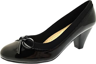 Lora Dora Womens Mary Jane Mid Heel Comfort Shoes Black Patent 8