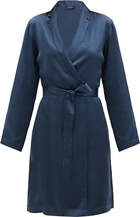 La Perla Belted Short Silk-charmeuse Robe - Womens - Dark Blue